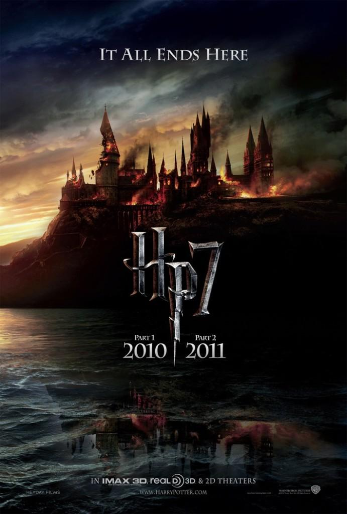 Hogwarts burns in the background