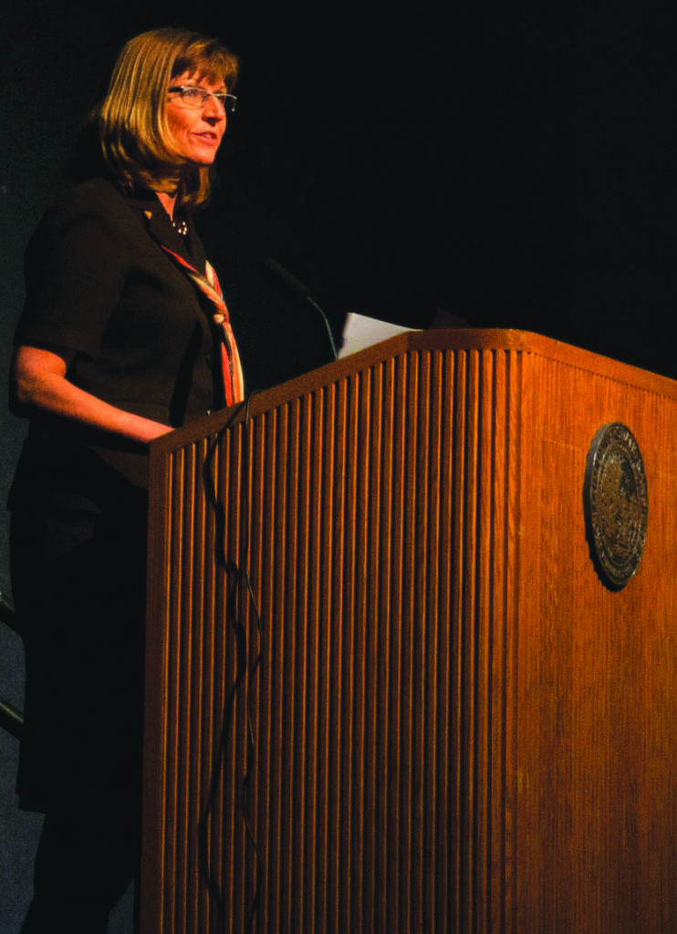 Jana Mackey's mother, Christie Brungardt, speaks at the lecture held on October 24.
