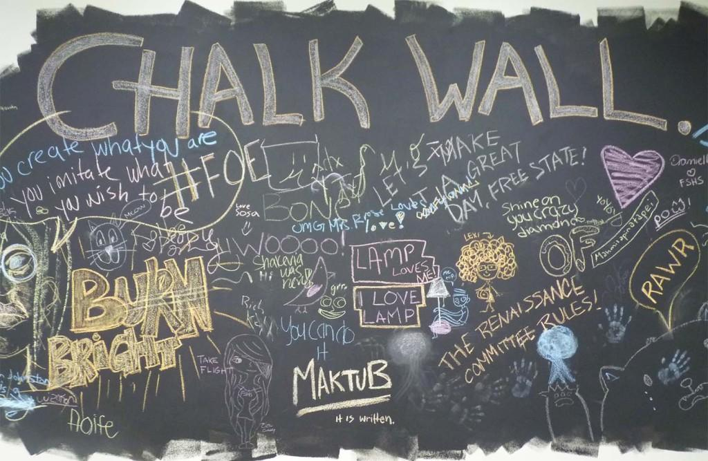Located fittingly between the art room and the library, the newly created Chalk Wall encourages students to share their thoughts in art and writing.
