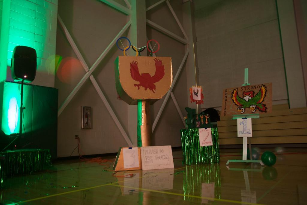 FYI Leadership Club held a competition for students and clubs to submit their best Firebird strong trophy. The entries were prominently displayed at the dance.