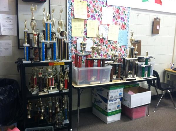 After school on Oct. 16, debate and forensics trophies predating 2011, excluding 1st place varsity awards and regional, state and NFL awards, were given away to students. Those that were not claimed were thrown away.