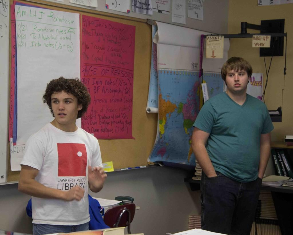 Secular Alliance Club officers juniors Kenneth Palmer and Brendan Phillips lead group discussion during a Secular Alliance Club meeting. The club meets in Room 144 after school on Mondays.