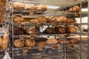 Loaves of bread line the shelves at Wheatfields Bakery, located at 904 Vermont St. Lawrence, Kan.  66044
