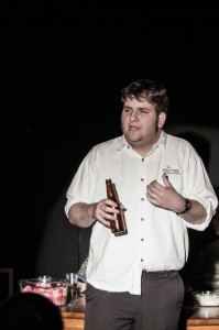 Senior Chris Hatfield plays an alcoholic father in the student written play