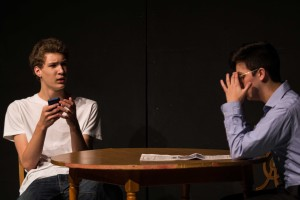 Sophomore Josh Eisenhauer plays a teen addicted to his phone in the comedy