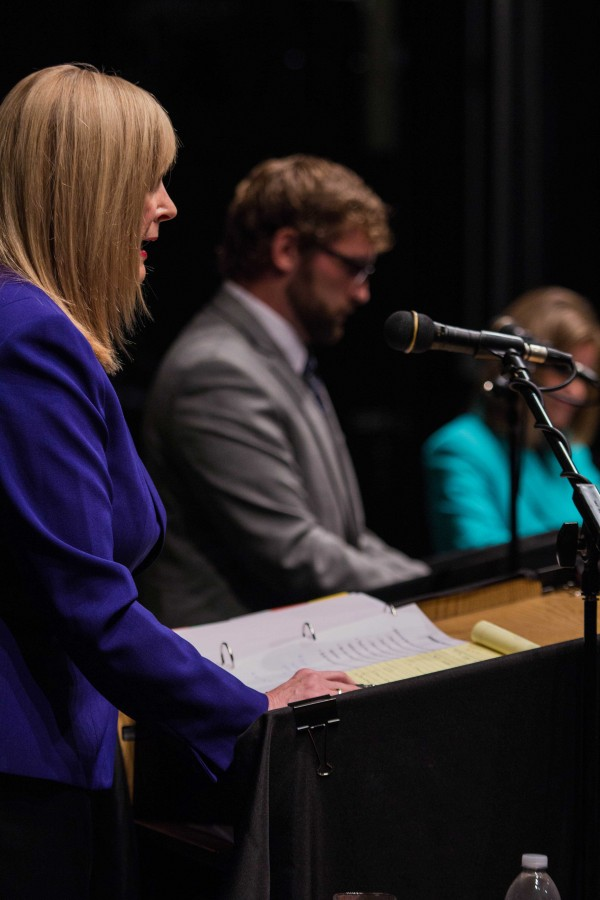 Democrat Margie Wakefield gives a rebuttal during the Sept. 6 debate against Republican Lynn Jenkins and Libertarian Chris Clemmons. The midterm election is Nov. 4.