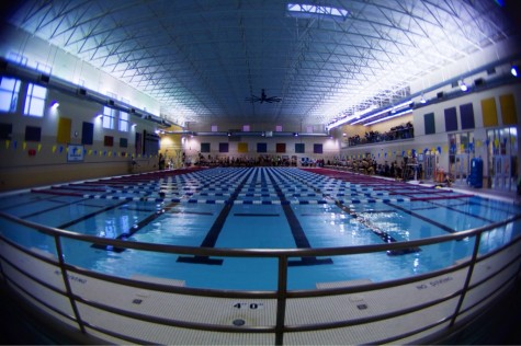 Photographer takes a fish eye view at the Lawrence Indoor Aquatic Center. The boys swim season starts in December.