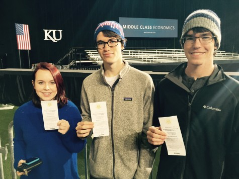 """Free State alumni and KU sophomores (from left) Elizabeth Bergee, Patrick Liston and Brian Morris stand with their tickets for President Barack Obama's speech. Obama spoke at KU in Anschutz Sports Pavilion on Jan. 22. """"The most memorable part of the speech for me was probably when he was talking about the free community college because that impacts the whole university and will be a huge impact on the economy in the future,"""" Morris said."""