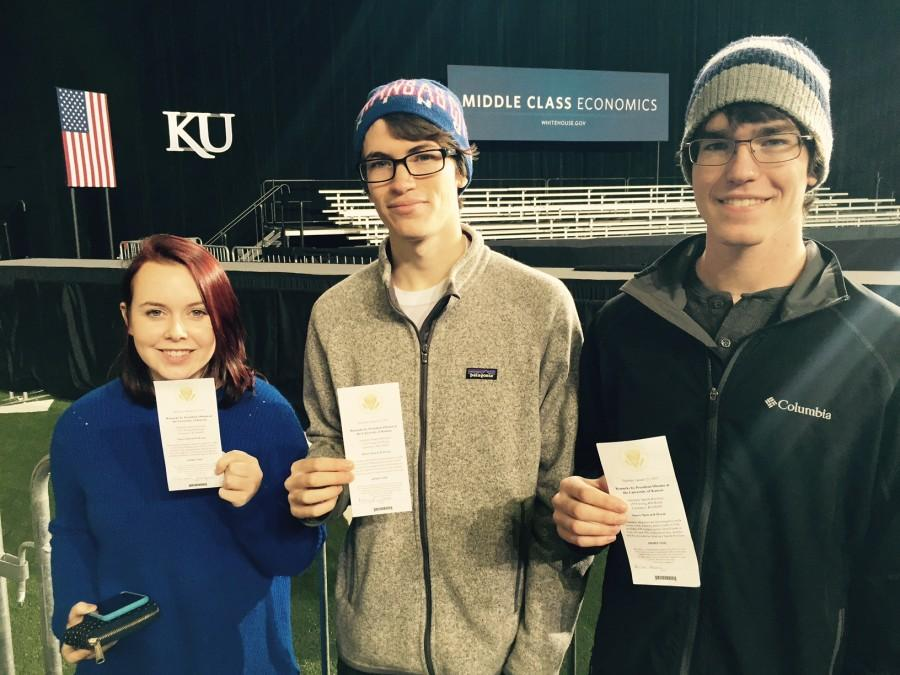 Free State alumni and KU sophomores (from left) Elizabeth Bergee, Patrick Liston and Brian Morris stand with their tickets for President Barack Obamas speech. Obama spoke at KU in Anschutz Sports Pavilion on Jan. 22.