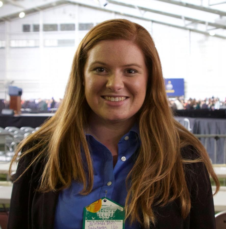 KU junior Miranda Davis smiles after a long day covering President Barack Obamas speech at KU. Davis is the News Editor for the Daily Kansan and was in charge of four staff members covering the event. Obama spoke in Anschutz Sports Pavilion on Jan. 22.