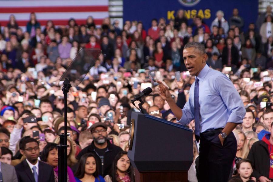 President Barack Obama addresses the audience. Obama spoke at the University of Kansas in Anschutz Sports Pavilion on Jan. 22.