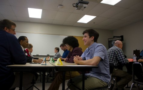 Junior Donovan Young and sophomore Arlo March, students selected to be in the Ambassador Program, get to know their business partners before the start of the programs's second meeting. The students were selected based on counselor recommendations.