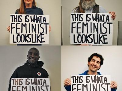 Free State teachers pose to demonstrate what a feminist looks like.