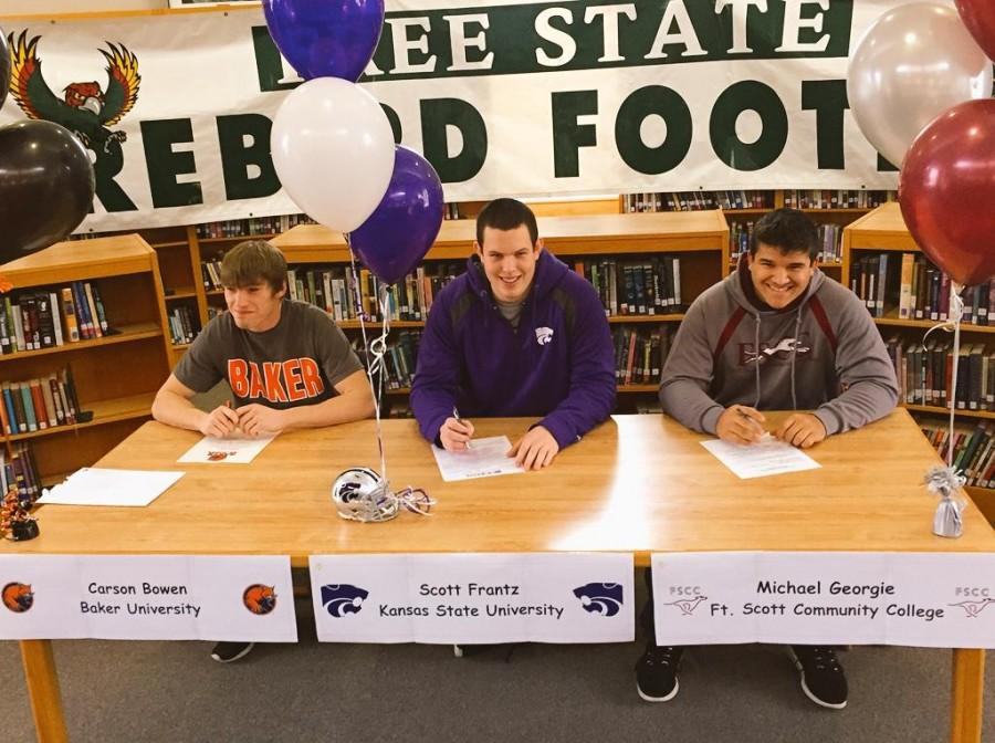 Seniors Carson Bowen, Scott Frantz, and Michael Georgie sign to play sports at their college of choice. Bowen, Frantz, and Georgie were all players for Free State's football team.