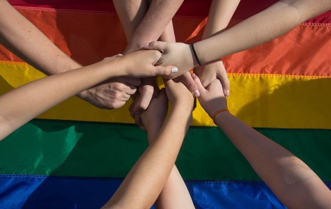 In promotion of LGBT+, students come together and support the community by holding hands in front of the rainbow flag. There have been many great strides for the community so far in 2015: the legalization of gay marriage, having both names of a same sex couple written on children's birth certificates, support through social districts, pride parades, awareness days, books being published and much more.