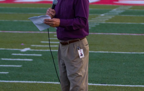 At halftime, Lawrence Superintendent Rick Doll addresses the vandalism that occurred days before the 2014 FS vs LHS football game.