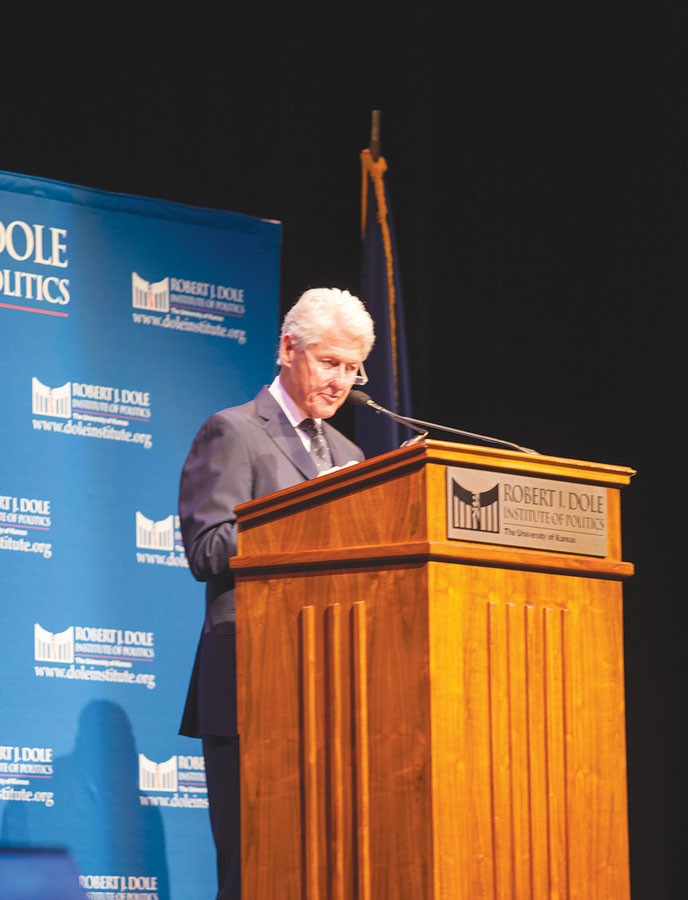 """Former president Bill Clinton speaks at the Lied Center to a full house. He was presented with the Dole Leadership Prize for providing leadership that inspires others. """"I always liked Clinton; I admired his intelligence,"""" teacher Marsha Poholsky said. """"He is the only president in recent memory that had a balanced budget."""""""
