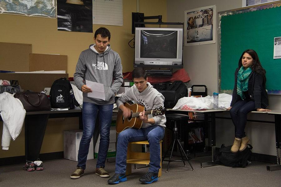 Exchange students Juan Zarate and Denis Sitzmann play a traditional Paraguayan song for Free State spanish students. The group of Paraguayans arrived on Jan. 16 and will leave on Feb. 20.