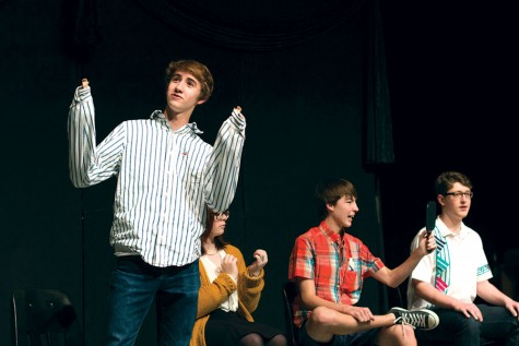"Performing ""One for the Record Books,"" an original play by senior Nat Hoopes, junior Ryan Leibold, sophomore Chris Pendry and sophomore Orson Becker participate in 2015's Black Box Theater Festival."