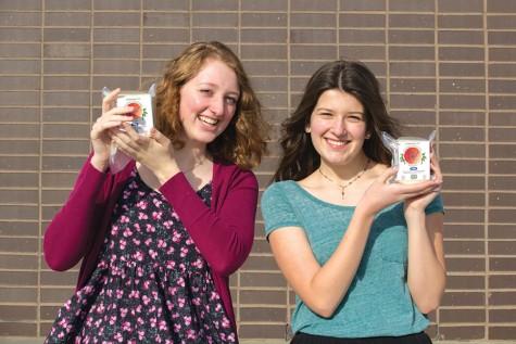 Vegetarians Trenna Soderling and Sydney Gard pose with tofu.