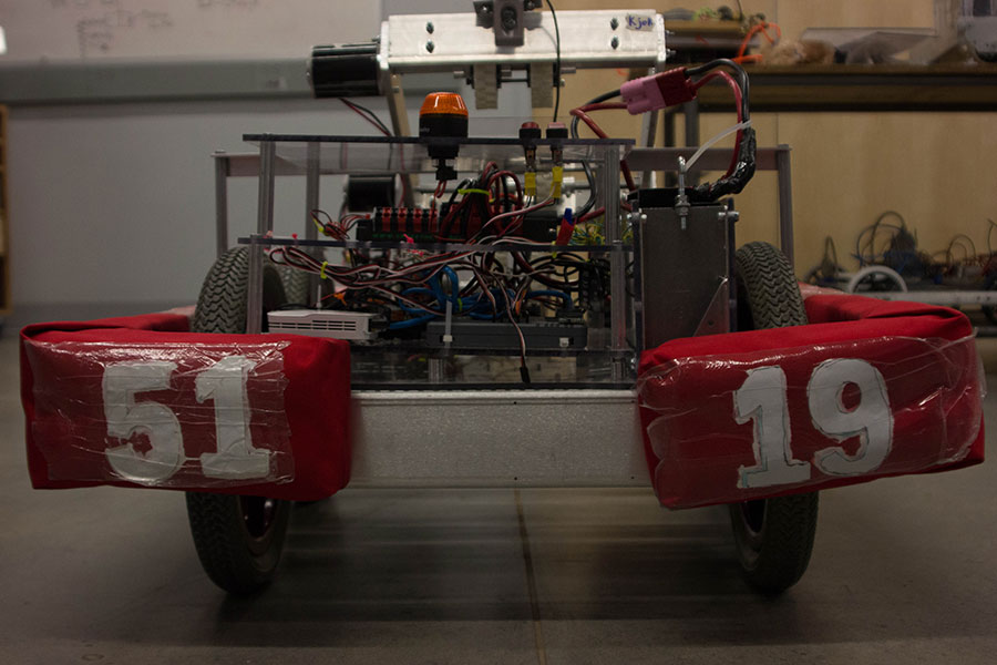 A battery-powered bot assembled by Robotics Team. The team scored second in the regional tournament.