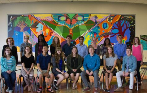 """National Merit Semifinalist seniors, Erin Schel, Lane Weis, Abena Peasah, Hazel Scott, Calvin Yost-Wolff, Sayuz Thapa, Mary Reed-Weston, Tarini Singh, Ian Putz-Earl, Cailyn Zicker, Sarah Mechem, Adelaide Wendell, Jialun Wang, Paige Lawrence, Katie Lane, Jonathan Leslie, Charlotte Crandall, and Michael Braman gather to recognize their achievements. Free State had its largest number of National Merit Semifinalist 17 students in total. """"I figured we would have a good number (…) it's nice to see the kids you work with succeed,"""" Advisor Larry Wolf said."""