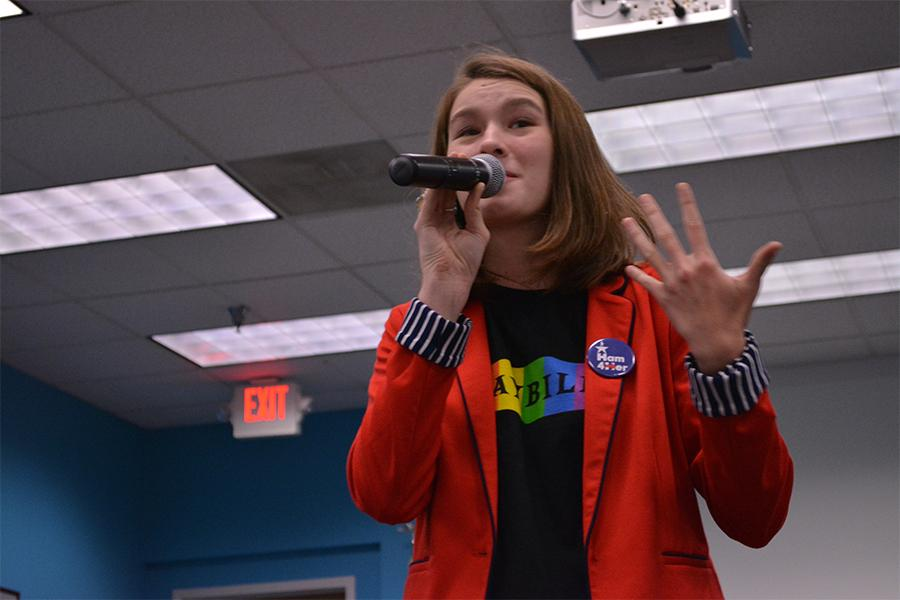 Lawrence High Senior Crosby Dold recounts her experiences as a member of the LGBT community during high school. She explained that participating in musicals helped her discover her true identity