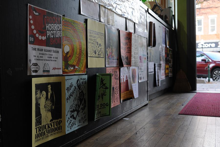 Fliers for local acts, events, and shows decorate the surfaces of local businesses.