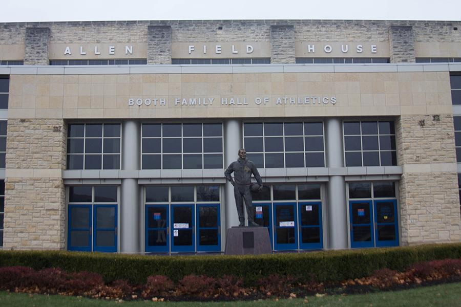 At the front of Allen Field House, the statue of Phog Allen stands to remind citizens of the history of basketball in Lawrence. Allen Field House is the home of Kansas basketball and has seen players like Danny Manning, Wilt Chamberlain and Mario Chalmers.
