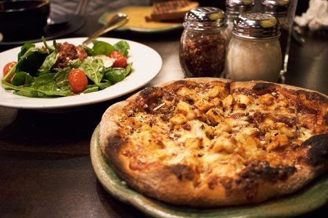 "The barbeque chicken pizza and the greek salad. Besides pizza, ""Spin!"" offers soups, sandwiches and pasta."