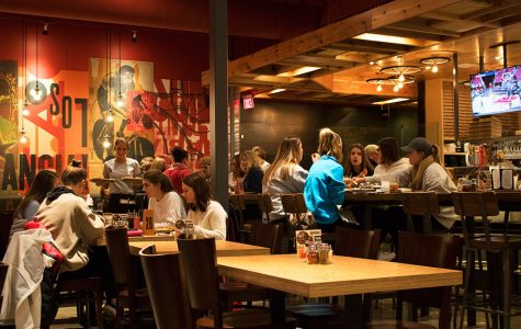 Students and customers dine in