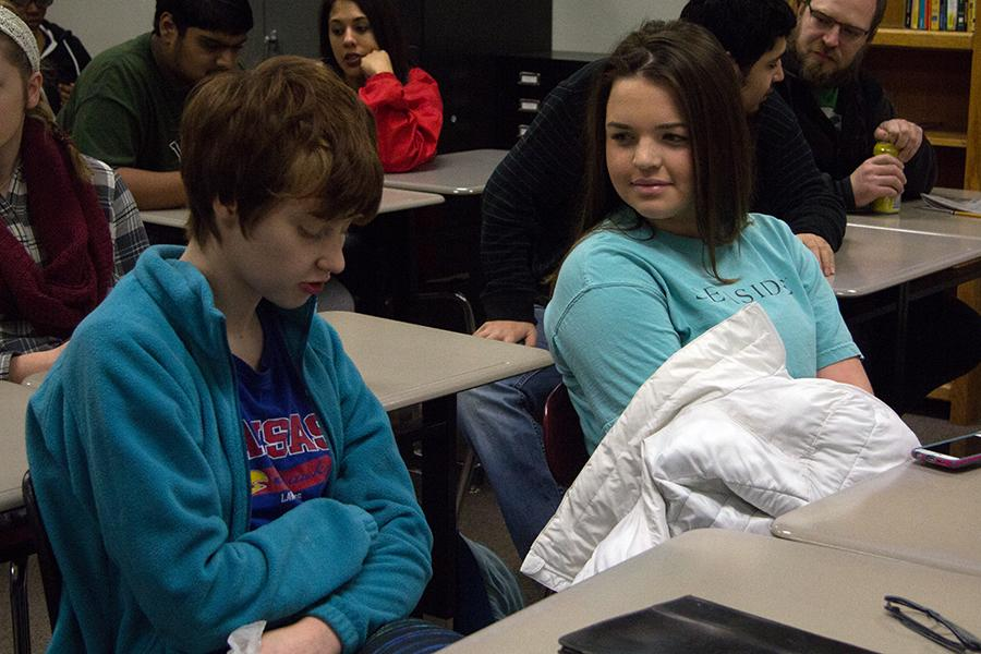 Margaret Clark and Bailey Culbertson wait for first hour to start. There are currently 28 students enrolled in IPS.