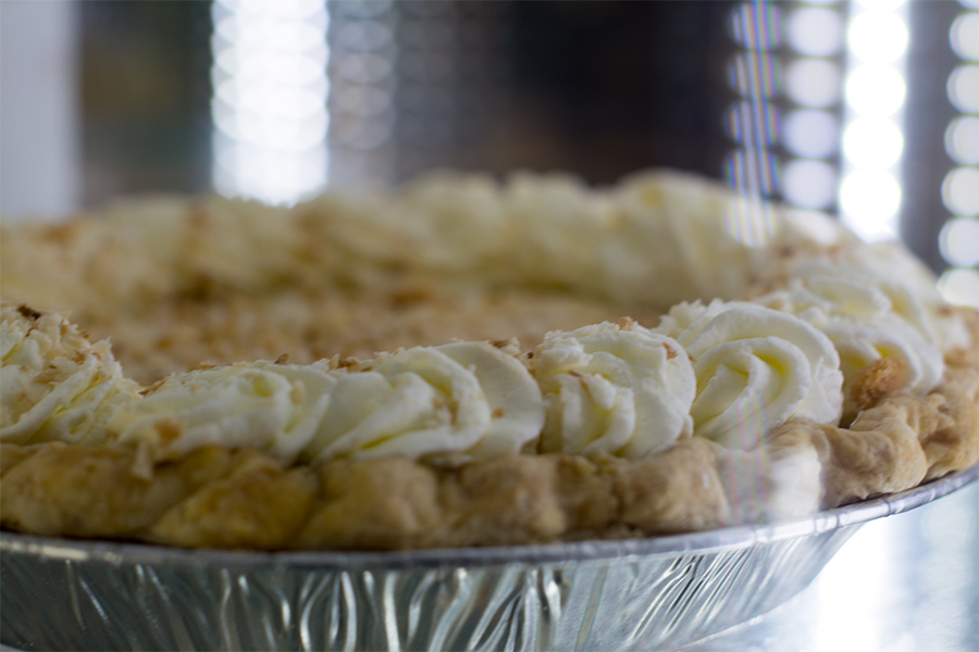 Coconut cream pie. Ladybird sold whole pies, as well as by the slice.