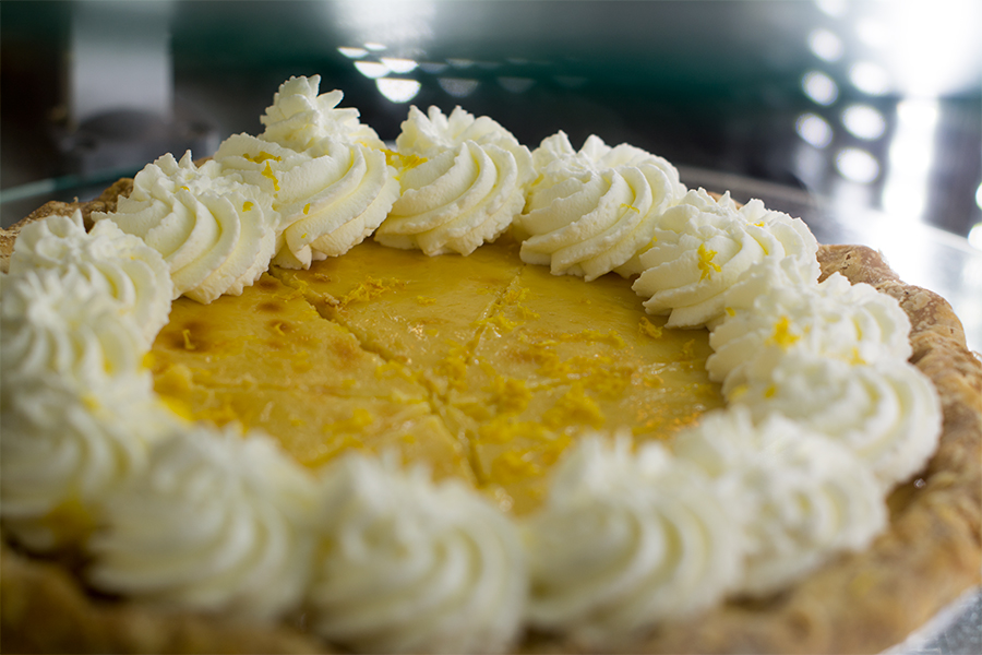 Lemon cream pie is cooled in the refrigerated display case. Cream pies take considerably less labor than the fruit pies according to Heriford.
