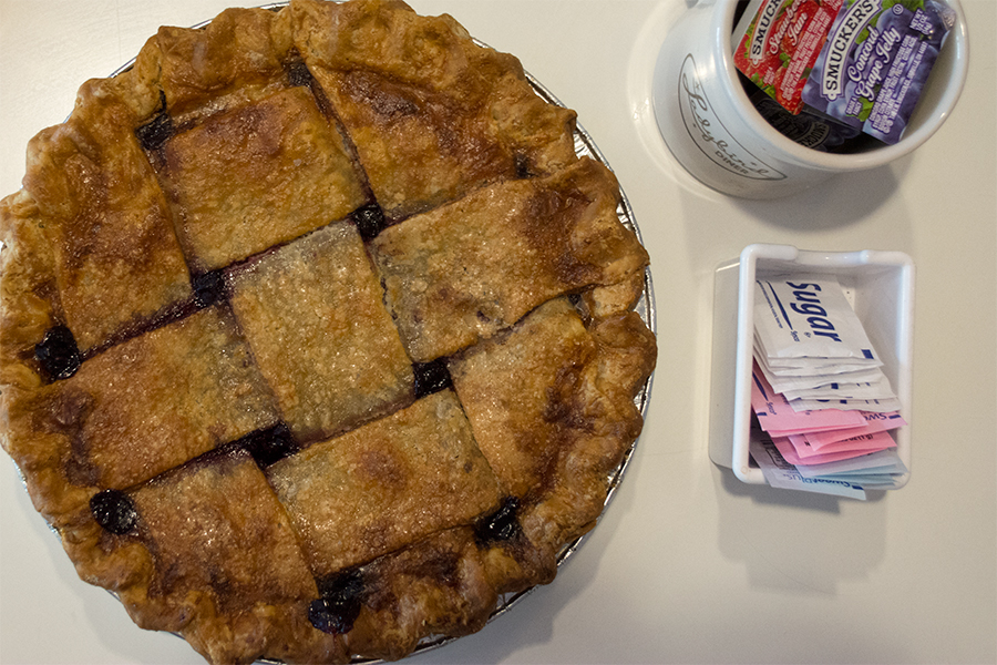 A blackberry pie sits on the counter. All fruit fillings were made in house at Ladybird.