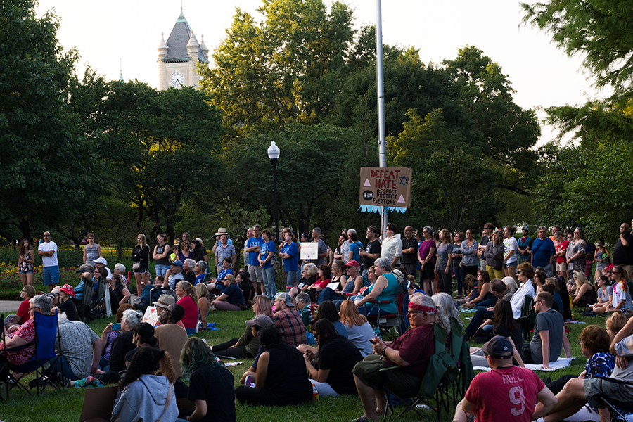 A large crowd gathers in South Park for the Sunday night vigil. The vigil was hosted by The Resistance LFK.