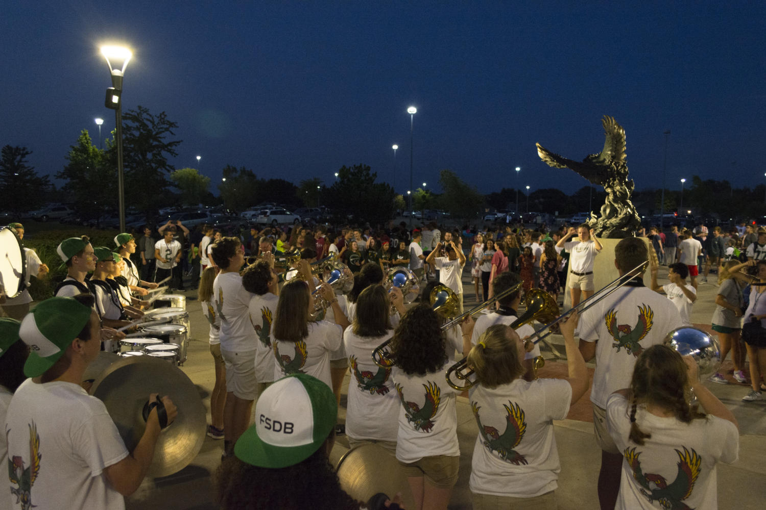 The Free State marching band performs at the bonfire. The band performance followed a show by the student band