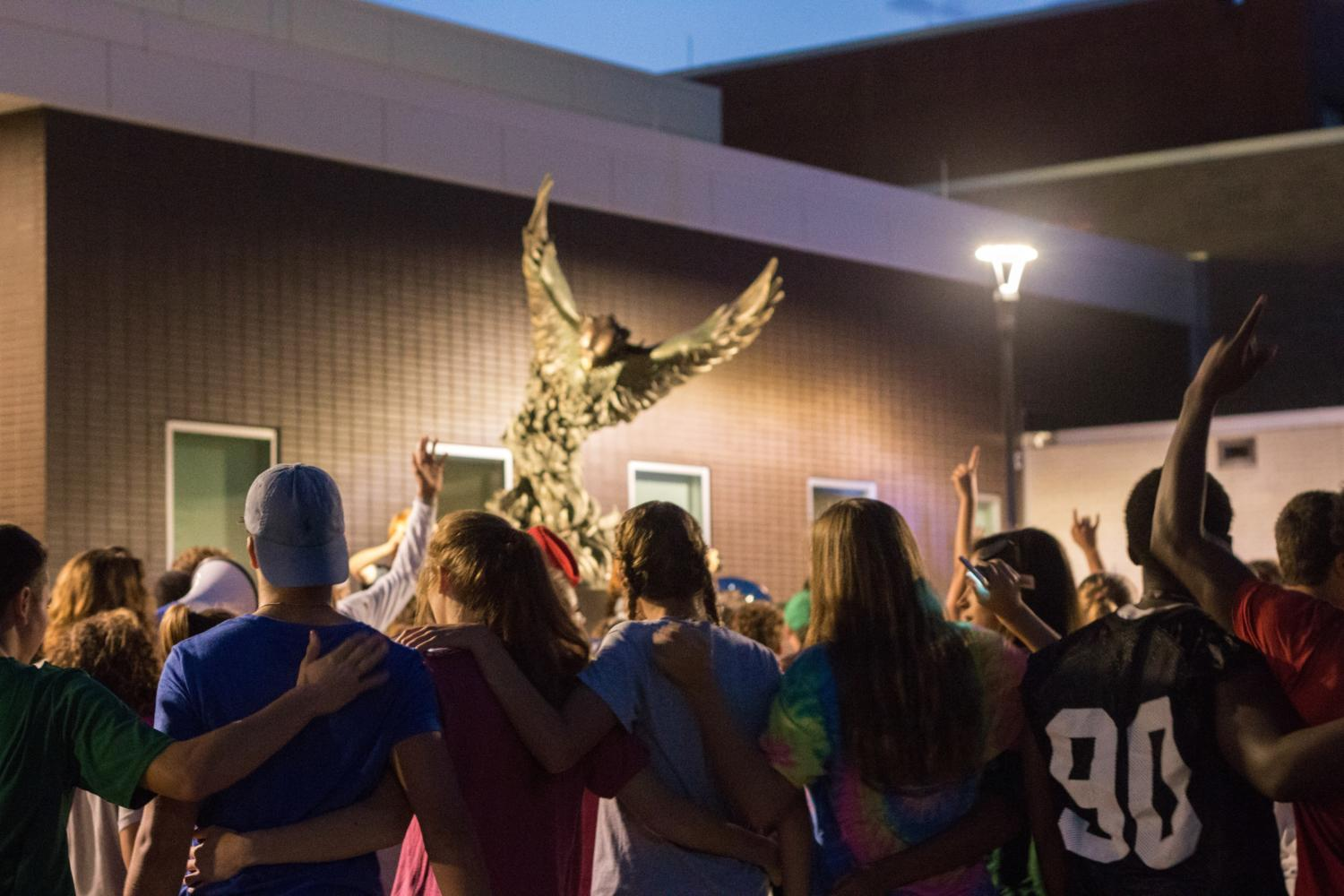 To conclude the parade a bonfire was held by the firebird statue. Students gathered around and sang the alma matter to celebrate Free States legacy.