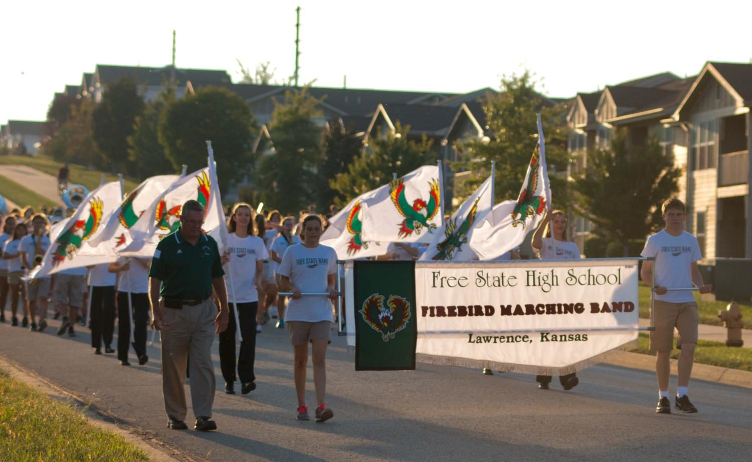 The fire bird marching band starts off the homecoming parade on September 18th. The parade underwent some changes this year, including the route.