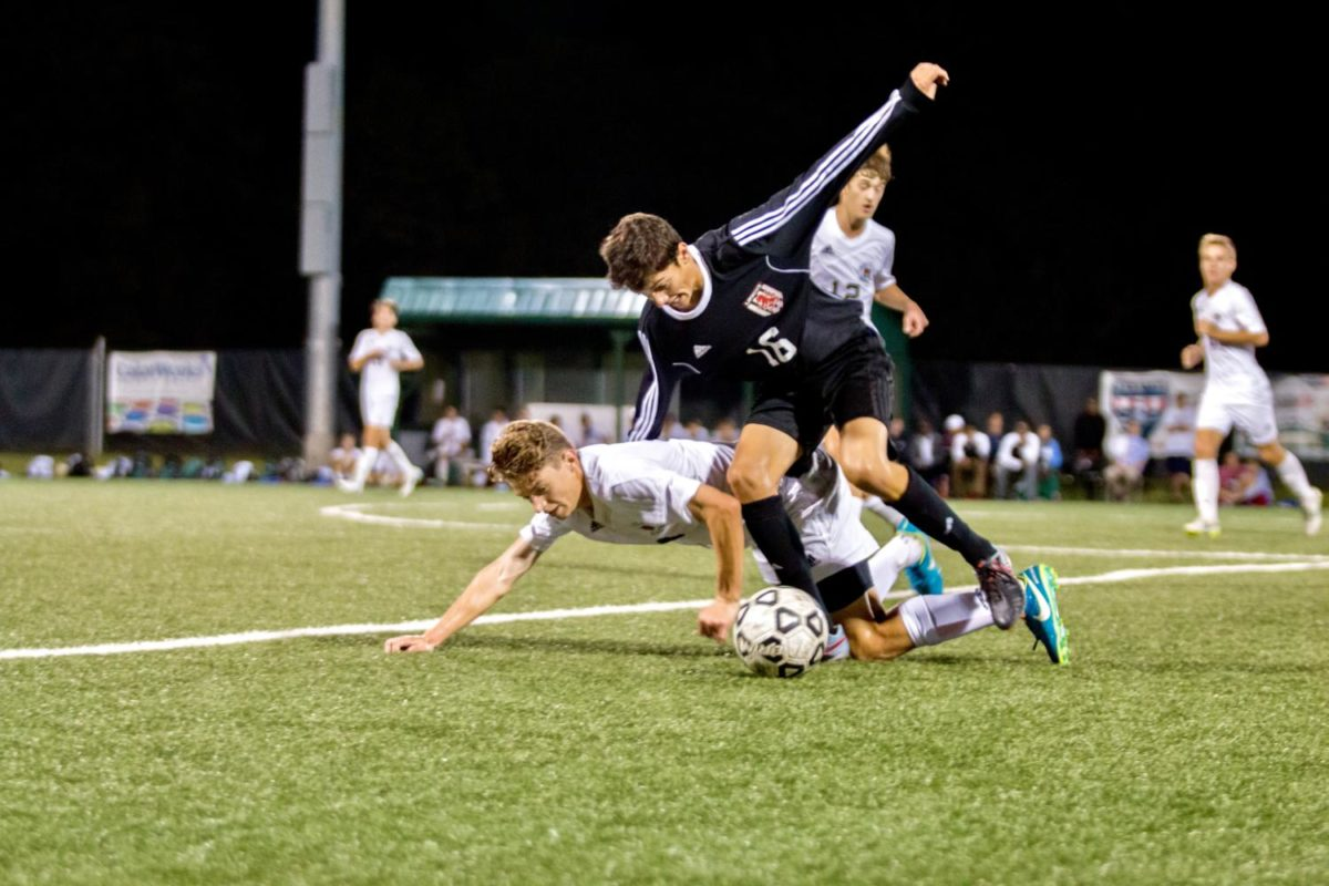 Sophomore Peter Boncella gets fouled by the opposing team.
