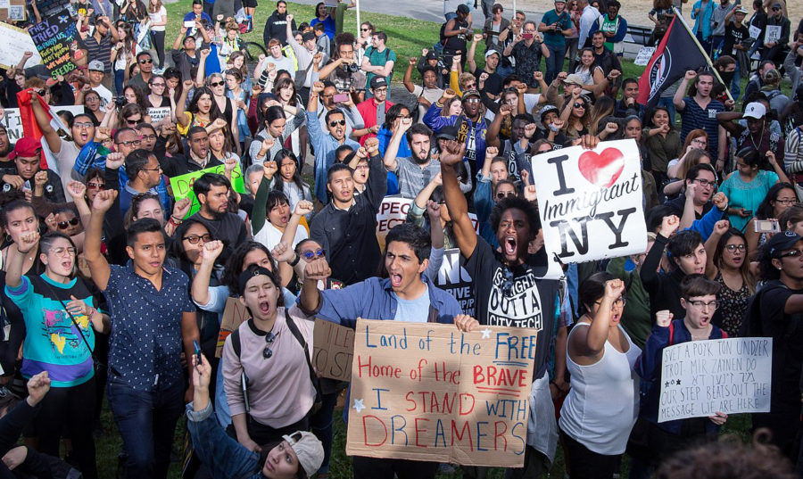A group of protesters gather outside the Trump Tower located in New York City in protest of the DACA decision. The protesters made signs of cardboard with slogans showing their disapproval with the President's decision.