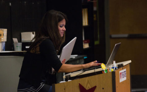 Theater teacher Ms. Waller is new to Free State this year. She led her class with enthusiasm.
