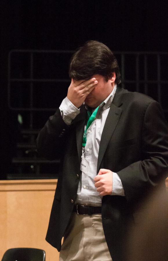 Candidate Jack Bergersen gets stumped while responding to a question during the second assembly.