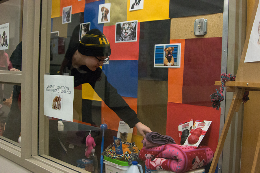Lenard Weintz sorts donations in the art room display case. All donations were placed in the display case, alongside art of animals at the shelter.