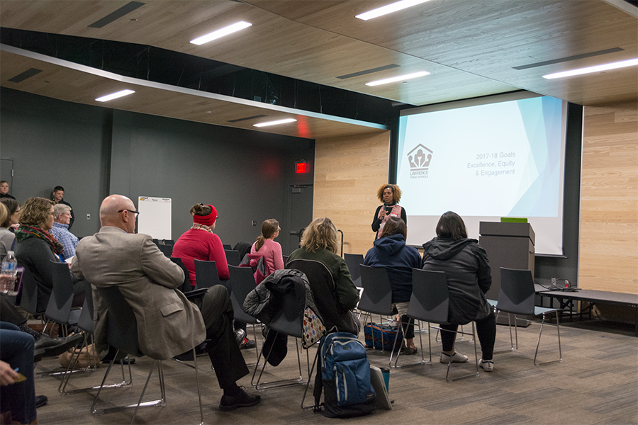 Interim+superintendent+Dr.+Anna+Stubblefield+opens+the+evening+conversation+with+district+accomplishments+since+the+previous+conversation+last+January.+Attendees+were+handed+sticky+notes+to+write+an+issue+they+wanted+discussed+on.