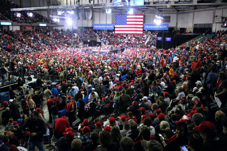 Trump's MAGA rally supporting Kobach draws protesters